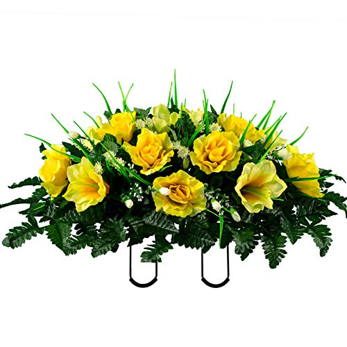 Sympathy Silks Artificial Cemetery Flowers – Realistic- Outdoor Grave Decorations - Non-Bleed Colors, and Easy Fit -Yellow Amaryllis & Rose Saddle for Headstone