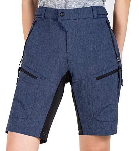 Cycorld MTB Shorts Damen MTB Hose, Lose Passen Radhose Reißverschluss Taschen Fahrradhose Damen Mountainbike Shorts (Navyblau, XXL)