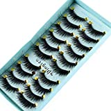 minicart 10 Pairs 3D Faux Mink Hair False Eyelashes Thick Long Fluffy Wispy Lashes Multilayer Flutter Lashes Eye