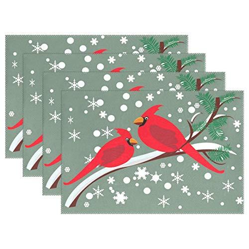 Promini Merry Christmas Lustige Vogel-Tischunterlage Platzdeckchen, Winter-Schneeflocken-Tischsets, rutschfest, fleckenabweisend, für Esszimmer, Zuhause, Küche, Dekoration, Innenbereich, 4 Stück