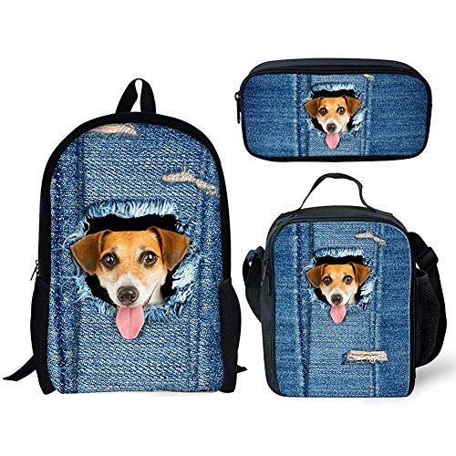ORGYPET Childern School Bag Bookbag Lunch Box Pencil Bags Boys Girls Teens Backpack Sets 3 Pc Cute Dog Printed Best Gift for Children