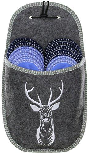 Vista Gäste Hausschuh Set Pantoffeln Gr. 36-46 mit Aufbewahrungstasche Mehrfarbig/grau/blau