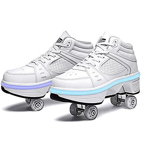 woyaochudan Botas Ajustables para Patines cuádruples, Zapatos Multiusos 2 en 1, Zapatos para Caminar, Zapatos con Ruedas de deformación Recargables LED de 7 Colores, EUR42