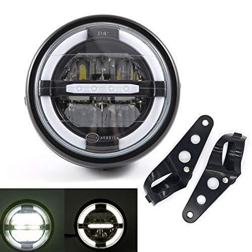 Gruppo ottico universale per moto Fari anteriori a LED con luci di marcia diurna per Cafe Racer Bobber Chopper (Colore B)