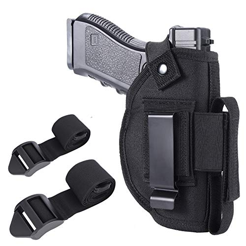 Anjilu Concealed Carry Holster IWB OWB Car Holster with Magazine Slot and 2 Strap Mounts for Right and Left Hand Draw Fits Subcompact to Large Handguns