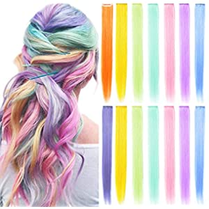 ECOCHARMS 14PCS 21''Rainbow Wig Pieces Multi-Colors Clip on in Colored Hair Extensions Party Highlights Hair Accessories Extensions for Girls Women