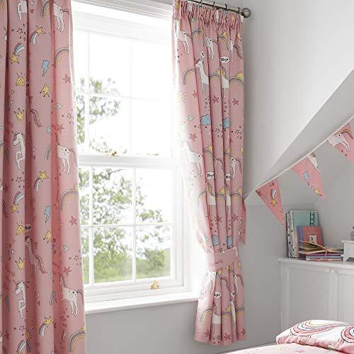 Happy Linen Company Set de Cortinas Infantiles de galón Fruncido con Forro - Unicornios y arcoíris - Rosa - 168x183cm