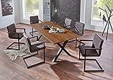 SAM 7tlg. Essgruppe Xanten, Baumkantentisch 220 x 100 cm + 6 x Stuhl Parzivo Stoff Wildlederoptik, Akazienholz nussbaum, X-Gestell aus Metall schwarz, Unikat