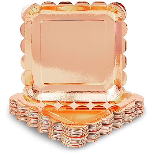 Rose Gold Foil Paper Plates for Parties, Square, Scalloped Edge (22.9 cm, 48 Pack)