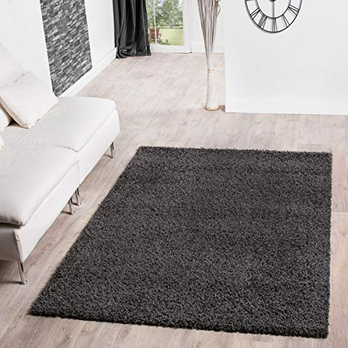 T&T Design Shaggy Teppich Hochflor Langflor Teppiche Wohnzimmer Preishammer versch. Farben, Größe:60x100 cm, Farbe:Anthrazit