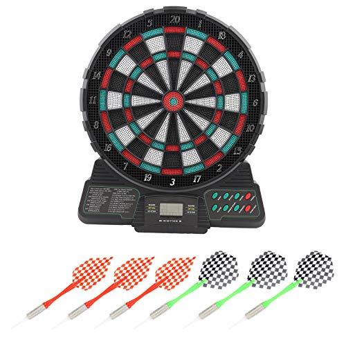 Bersaglio elettronico, display a LED per 8 giocatori Punteggio automatico Bersaglio per freccette elettronico digitale con 6 freccette morbide, 12,2 x 14,6 x 1 pollici Set di freccette per giocattoli