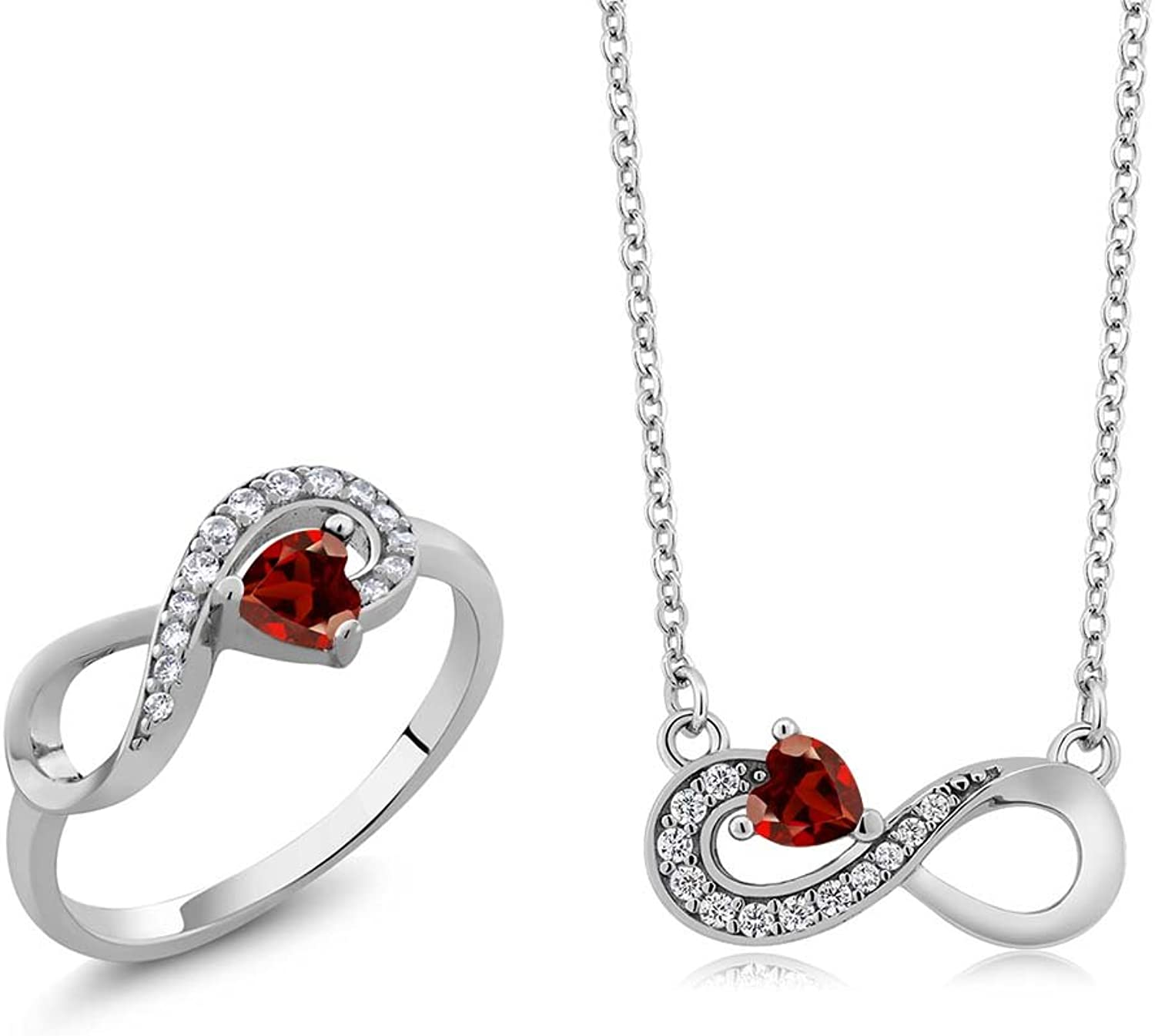 0.91 Ct Heart Shape Red Garnet 925 Sterling Silver Ring Pendant Set