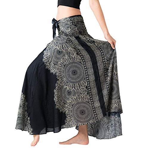Sayhi Women's Long Hippie Bohemian Skirt Gypsy Dress Boho Clothes Flowers Ethnic Style Fits Asymmetric Hem Design(Black,M)