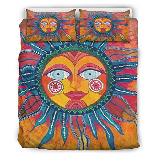 BOBONC Sun Tarot Chic Printed Bedding Set dekbedovertrekset en kussensloop Super Soft eenpersoonsbed beddengoed sets voor kinderen met rits