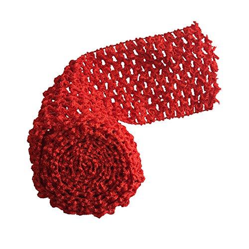 "2.75"" wide Crochet Headband Trim 5 Meters Red Waffle Crochet Elastic Bands Tutu Waistband"