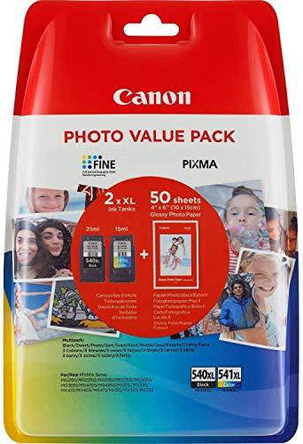 Can5222B013 Value Pack 2 cartucce d'inchiostro: PG-540XL + CL-541XL + 50 fogli 10 x 15 cm carta fotografica glossy