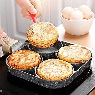 shenlanyu Sartén Antiadherente Sartén para Tortillas 4 Agujeros para Huevos De Hamburguesa Sartén para Panqueques Sartenes Sartenes Creativas Antiadherentes Sin Aceite Humo Desayuno Grill Wok Olla