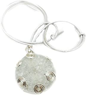 Clear Shattered Glass Necklace with Wire Weaving Accent