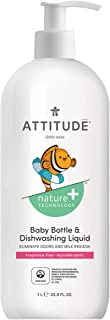ATTITUDE Baby Dish Soap, Non-toxic, Plant-based, Eco-Friendly, Fragrance-Free, 33.8-Fl.Oz.