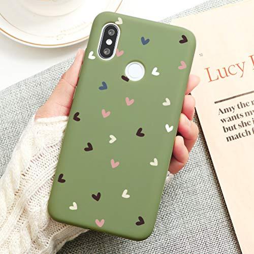 Pnakqil Coque Xiaomi Redmi Note 6/6 Pro Silicone Souple avec Motif Mignon Dessin Case Cover Ultra Fine Antichoc TPU Housse de Protection Etui pour Xiaomi Redmi Note 6 Pro/6, Amour 02 - Vert Pastel