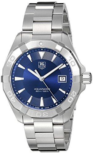 Tag Heuer Herren Armbanduhr Schwarzer Quarzuhrwerk Edelstahl legere Uhr, Farbe: silberfarben (Modell: WAY1112.BA0928)