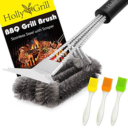 HollyGrill Safe Grill Brush and Scraper | Heavy Duty 18'' BBQ Brush with Stiff Bristles | No Pieces Come Off | 100% Rust Resistant Stainless Steel Barbecue Brush | Great Weber Grill Accessories Gift