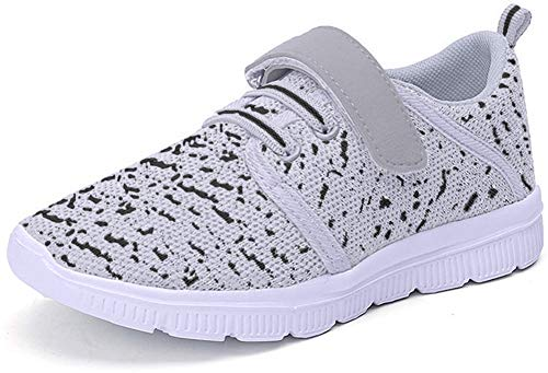 Abertina Kids Lightweight Breathable Running Sneakers Easy Walk Sport Casual Shoes for Boys Girls (2 M US Little Kid, Gray,34)