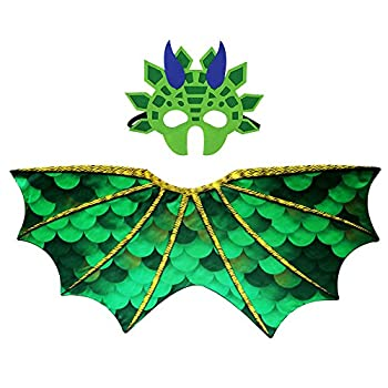 Toddler Kids Dinosaur Wings Costume Cape and Mask for Boys Girls Dragon Dress Up Party Games  Green