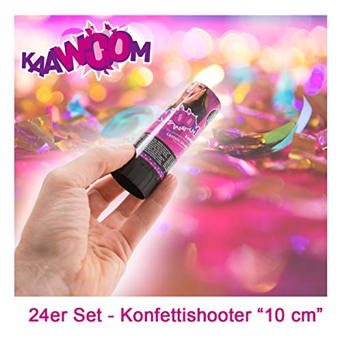 24er Set Konfettikanone / Konfettishooter / Party Shooter / Party Popper - 10 cm (Metallic-Konfetti) für Party, Hochzeit, Geburtstag, Junggesellenabschied und Karneval