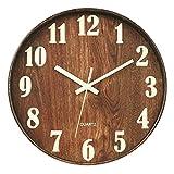 壁掛け時計 蓄光 夜光 木目調 連続秒針 ウォールクロック アラビア数字 時計 シンプル 雑貨 インテリア