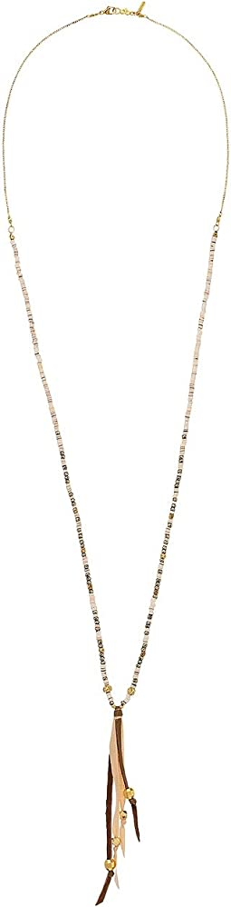 Chan Luu - 18k Gold Plated Sterling Silver Necklace w/ Pink Beads & Leather Tassels