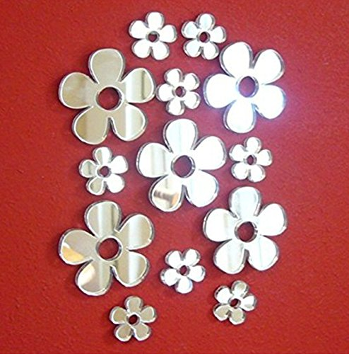 Set of 50pcs Little Flowers Mirror Sticker ,Different Sizes Flower Mirror Decal For Kids Nursery Home Deco ,DIY Craft& Scrapbooking Accessory Mirror Pieces Stickers
