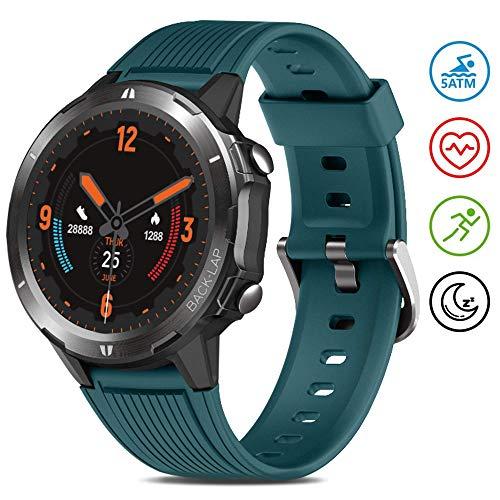 GRDE Smartwatch 5ATM Wasserdicht Fitness Tracker 1.3 Zoll Touchscreen Armbanduhr Aktivitätstracker mit Herzfrequenz Schlafmonitor Schrittzähler Wettervorhersage für Damen Herren Android iOS Kompatibel