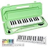 KC 鍵盤ハーモニカ (メロディーピアノ) ライトグリーン P3001-32K/UGR + 鍵盤デザイン「どれみふぁそらクロス」付きセット