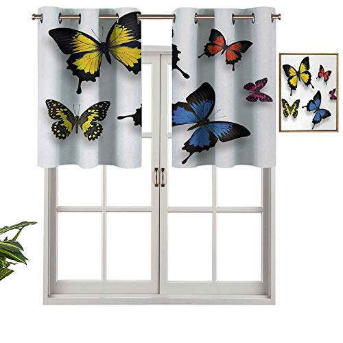 Hiiiman Indoor Privacy Window Valance Curtain Panel Various Colorful Butterflies Pattern and Moths Grace of Nature Wings Home Decor, Set of 1, 36'x18' for Sliding Patio Door/Dining