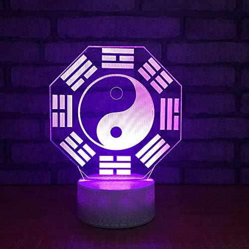 Ydwd7 Cambio de Colores Novedad 3D Led Ocho Diagramas Luces Nocturnas Recuerdos Usb Regalos Lámpara de Mesa Bebé Iluminación de Noche Dormitorio Decoración