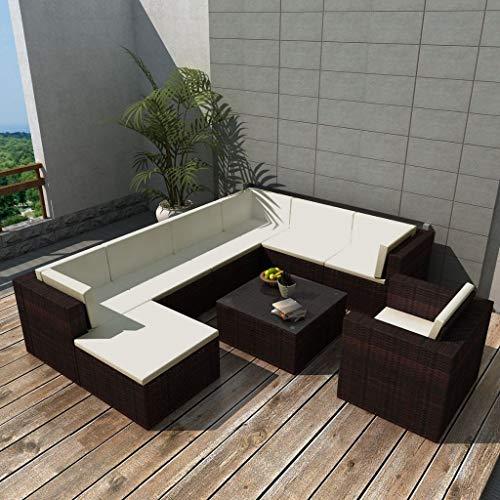 Namotu vidaXL 9-TLG. Conjunto de salón de jardín con Cojines de poliratán, Color marrón