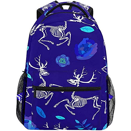 An Green Schulrucksack Skeletons of Deer Bookbag für Jungen Mädchen Teens Casual Reisetasche Computer Laptop Daypack