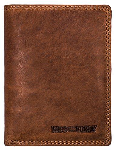 Hill Burry Cartera de Cuero para Hombre   Billetera - Monedero de Cuero Genuino con un Aspecto Vintage   Hombres - Mujeres Bolsillo Vertical   RFID (marrón)