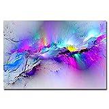 Arte de pared abstracto barato Impresión de lienzo Pinturas de lienzo impresas modernas Nube púrpura para la habitación de oficina Decoración de la pared del hogar Nave de la gota 50x70 CM (sin marco)