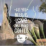 Taza de café ventana vidrio logotipo calcomanía té tiempo tienda etiqueta de la pared cafetería firma ventana arte mural extraíble cocina decoración45cm X 74cm