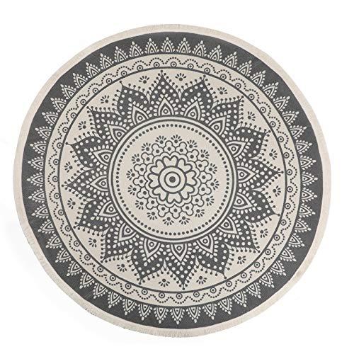SHACOS Tappeti in Cotone Rotondo con Nappe Design Pattern di Stampa Mandala Grigio Tappeto per Moquette per Salotto, Camera da Letto, Cucina, Lavanderia, 160x160 cm