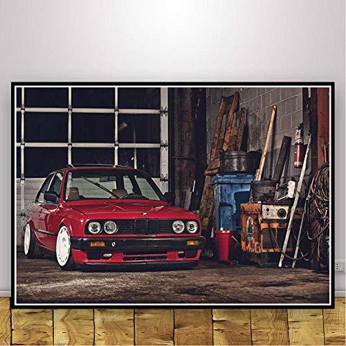 KELDOG Póster e Impresiones de Super Race Car, BMW M3 E30, Impresiones artísticas de Pared Retro, Lienzo, Cuadro de Pintura Moderna, para la decoración de la habitación del hogar 42X60 Cm