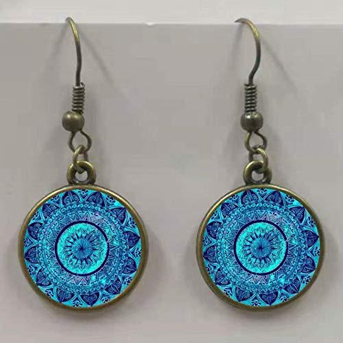 Moda Glamour Mandala Art Picture Pendientes de cristal de henna Pendientes Yoga Om Símbolo Zen Budista Cristal Pendientes Mujeres Joyería