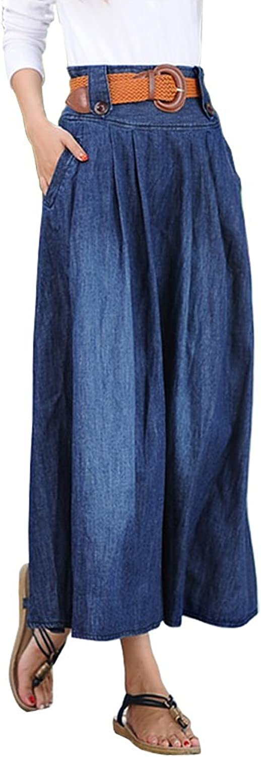 Angcoco Women's Fashion Elastic Waist Denim Jean Full Skirt w  Belt