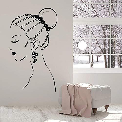 Hermosa niña pendientes vinilo ventana pegatinas de pared calcomanía cara trenzas peinado belleza salón de chicas habitación interior decoración-57x99 cm