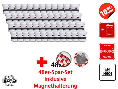 48er Set 2002-023 Cavius Mini-Design 10-Jahres Rauchmelder inkl. Magnethalter, 2002-023Set-48