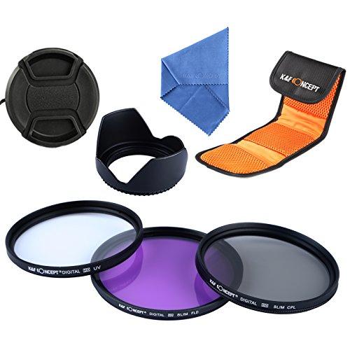 K&F Concept 49mm Filtre Photos CPL + Filtre Protection UV+ Filtre FLD pour Canon Nikon Sony Olympus et Les Autres Reflex Numérique avec 49mm Filetage de lentille