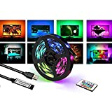Nakeey LED TV Hintergrundbeleuchtung 2M USB LED Strip Lichtband mit 24-Key Fernbedienung Fernseher Beleuchtung Hintergrundbeleuchtung Fernseher für 40-60 Zoll HDTV, TV-Bildschirm, PC, Spiegel