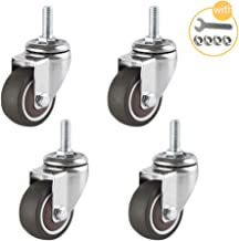 J1AOLUNN Furniture Stem Caster Wheels,Anti-Skid Rubber Swivel Casters,with Nuts Lock,Premium Quality, Rolls Smoothly,Quietly, Total Capacity 45kg,Set of 4,Diameter 1in